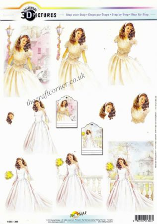 A Beautiful Bride 3d Decoupage Sheet
